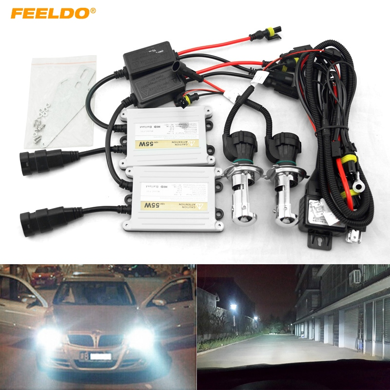 FEELDO 1Set Car Headlight AC 12V 55W H4 HID Xenon Bulb Hi/Lo Beam Bi-Xenon Bulb Light Slim Ballast HID Kit #4485 noritsu minilab roller a230214 00 a230214