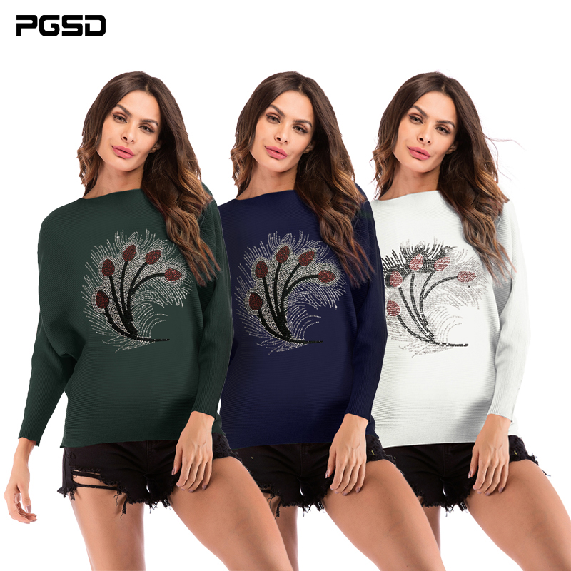 PGSD New Autumn winter women clothes Fashion peacock feather knitwear O-collar long sleeves Bats sleeves Knitted sweater female