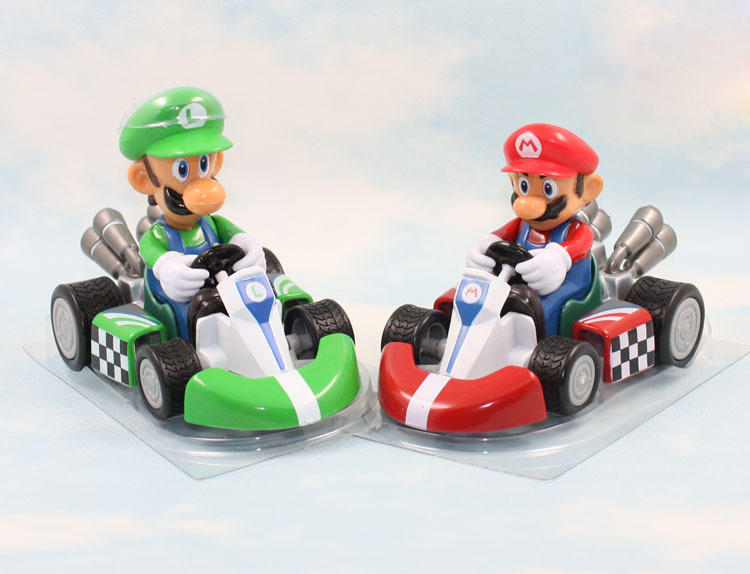 Classic Game Super Mario Bros Action Figures Kart PULL BACK Cars Mario/Luigi Free shipping Retail
