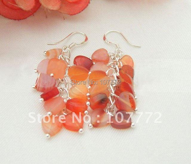 @@!!! Heart Shaped Carnelian Earring   free + shippment