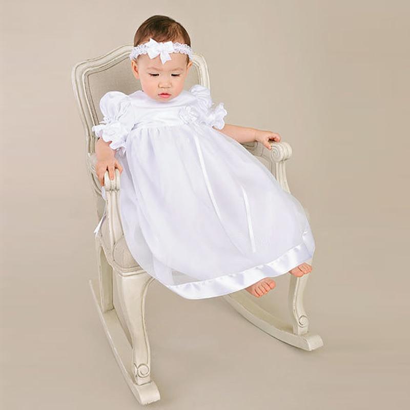 ФОТО With Headband Summer Baby Girl Christening Dresses Ankle Length A-Line Short Sleeves O-Neck Baby Girl Birthday Baptism Dresses