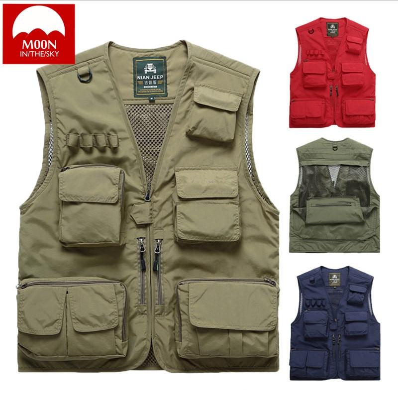 MOON Men 3XL Outdoor Vest Multi-pocket Fishing Photography Dedicated Leisure Thicken Vest Multi Pockets Waistcoat Jacket XB-051