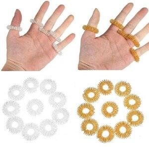 Image 2 - Palec nadgarstka masaż pierścień akupunktura pierścień opieki zdrowotnej masażer ciała Relax akupresura masaż dłoni bransoletka