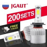 S2 Headlight Clearance! JGAUT Car light H4 H7 LED Headlight 72W 8000LM Fog Bulb Lamp COB Automotive Auto 6500K 12V 24V