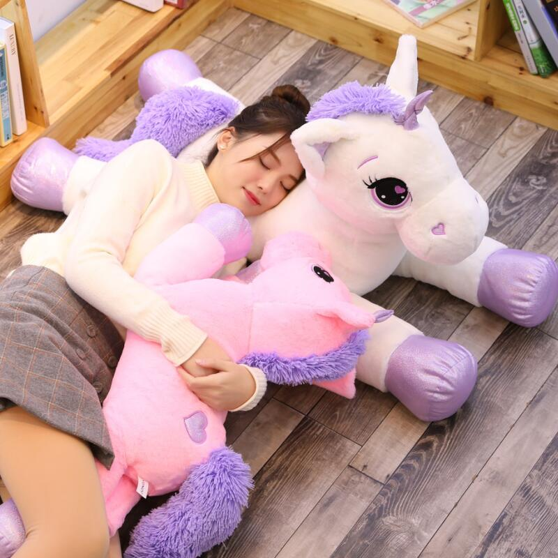 For Drop shipping New Giant Unicorn Plush Toy Soft Stuffed Popular Cartoon Unicorn Dolls Animal Horse Toys for Children Girl(China)
