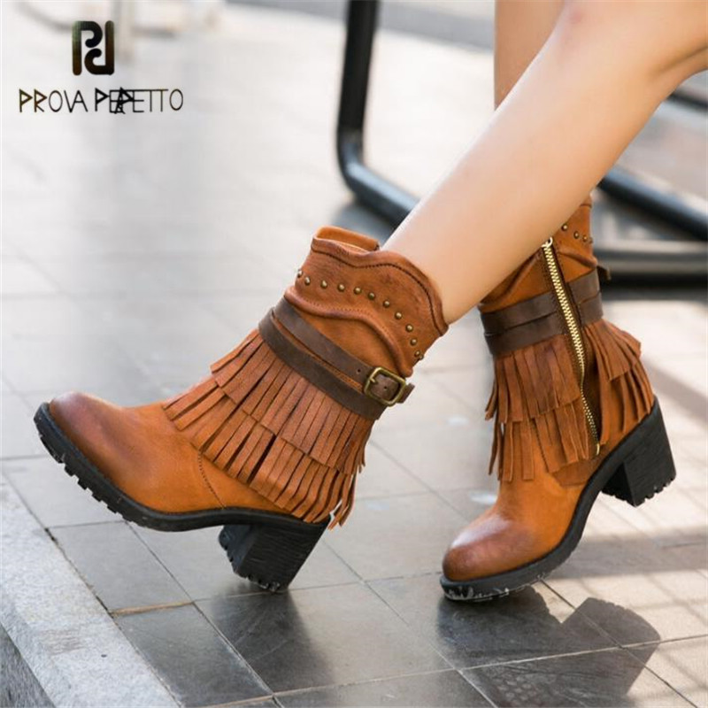 Prova Perfetto Handmade Fringed Women Ankle Boots Chunky High Heel Short Booties Autumn Winter Botas Mujer Platform Rubber Boot
