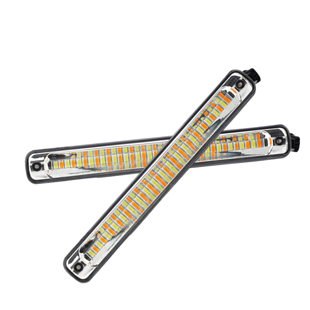 2pcs OKEEN 1pair LED DRL Cars Daytime Running Light Waterproof COB White Color Day Light + Yellow Turning Signal Color Fog Light