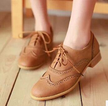 Tamaño grande 34-43 Moda Casual Lace Up Mujeres de Punta Redonda Zapatos Oxford