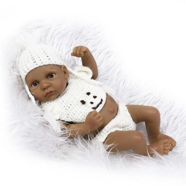 28cm Mini Reborn Baby Doll Kidu0027s Shower Toys Full Silicone Black Skin Doll  Girl Boy Gifts