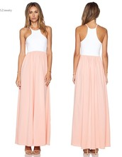 racer front gown white pink patchwork maxi summer  dress women casual loose beach dress sleeveless evening long robe