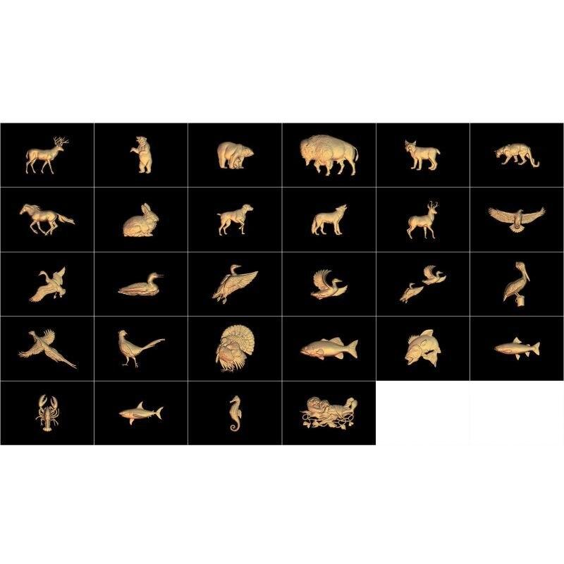 Купить с кэшбэком 103pcs/set Animal 3d model STL relief for cnc STL format 3d model for cnc stl relief artcam vectric aspire