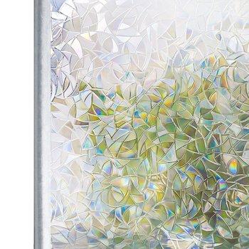 Przyciemniane 3D bez kleju statyczne dekoracyjne okno prywatności tęczowe folie do witraży samoprzylepna folia klejąca anty UV szklana naklejka Htv tanie i dobre opinie Rabbitgoo Samoprzylepne Statyczne czepiać A018 Embossed Stained Glass Films Explosion-Proof Heat Insulation Decorative