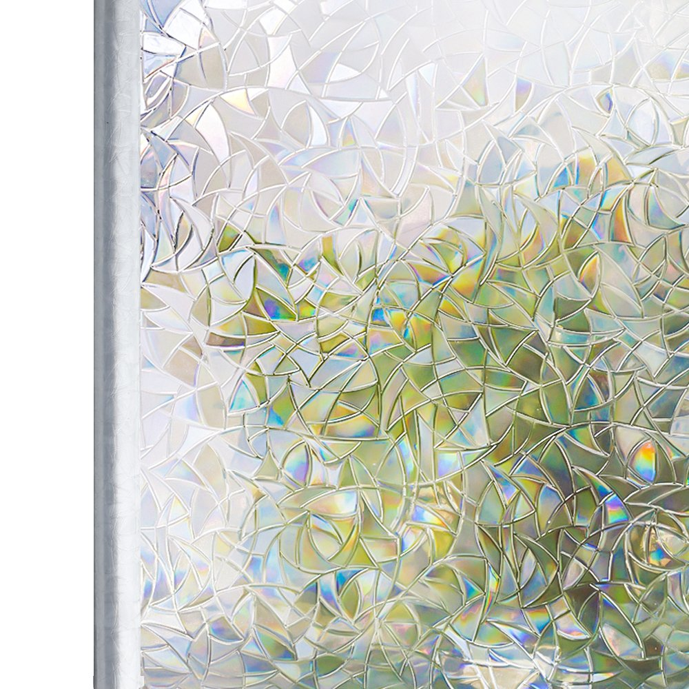 Premium 3D Decor Window Static Stained Glass Frosted Vinyl Privacy Film 45x200