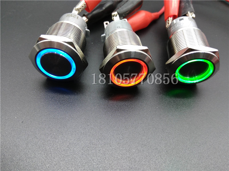 2pcs Stainless steel self-locking 19mm metal button switch with LED lamp, waterproof and rustproof 24V, 12V