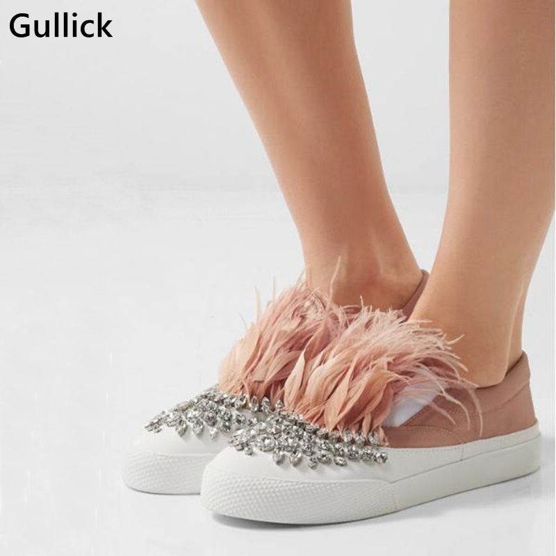 Style européen 2018 rose plume Bling cristal cuir femme appartements bicolore confortable mocassins en soie sans lacet femme loisirs chaussure