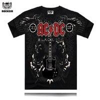 Rocosir 2017 여름 패션 디자인 남성 t 셔츠 AC 및 DC 블랙 아이스 클래식 기타 인쇄 무거운 금속 록 스타일 t 셔츠 거리 착용