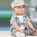 ST192  New 2015 Baby boy clothes bebe newborn summer clothing set 3 pcs set blouse+t-shirt+pants children clothing