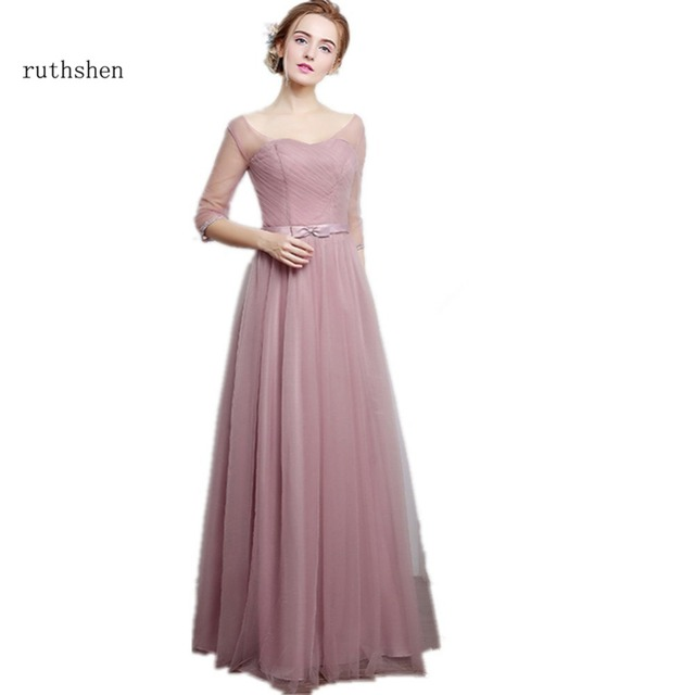 Ruthshen Bridesmaid Dresses Long Half Sleeves Illusion Pleated Tulle Wedding Guest Party Dress Vestido Madrinha 2017