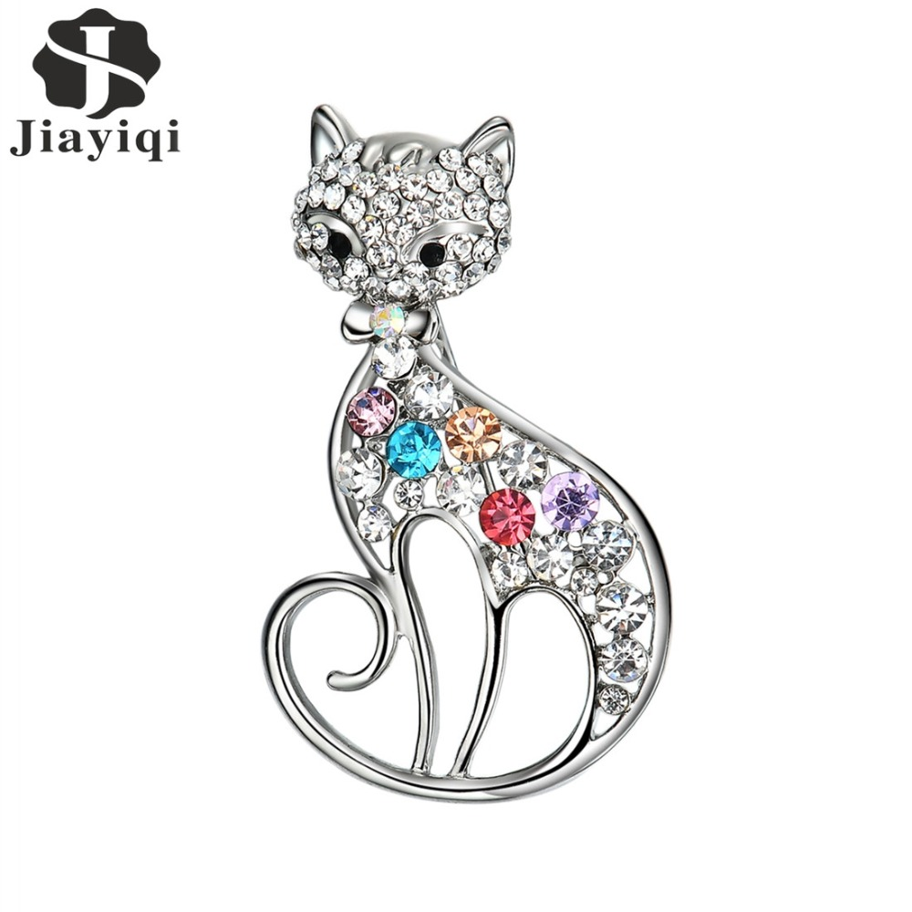 Jiayiqi 2018 Cute Little Cat Multi Colour Cubic Zirconia Brooches Jewelry For Women Suit Clips Corsages Bijoux Brooch Bijouterie