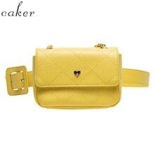 Caker Brand 2019 Women Yellow Green Diamond Lattice Chain Belt Waist Bag Fanny Waist Pack Drop Shipping