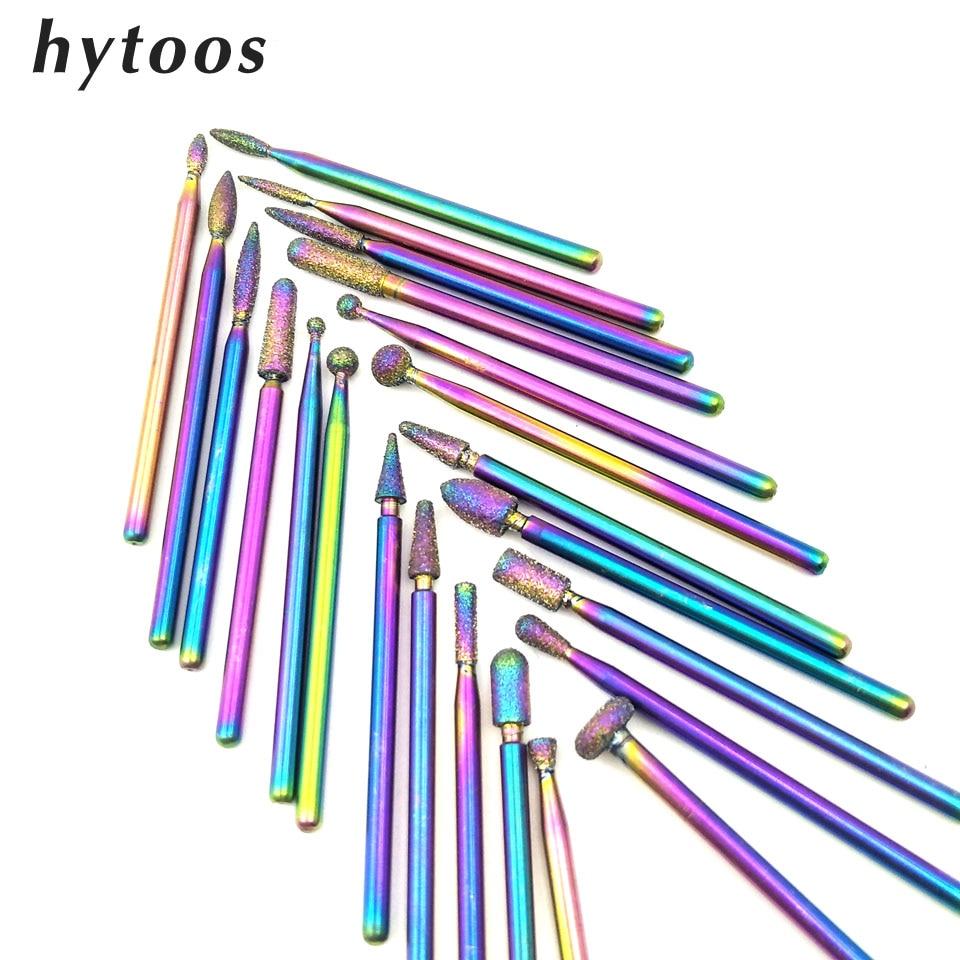HYTOOS 1Pc Rainbow Diamond Nail Drill Bits 3/32
