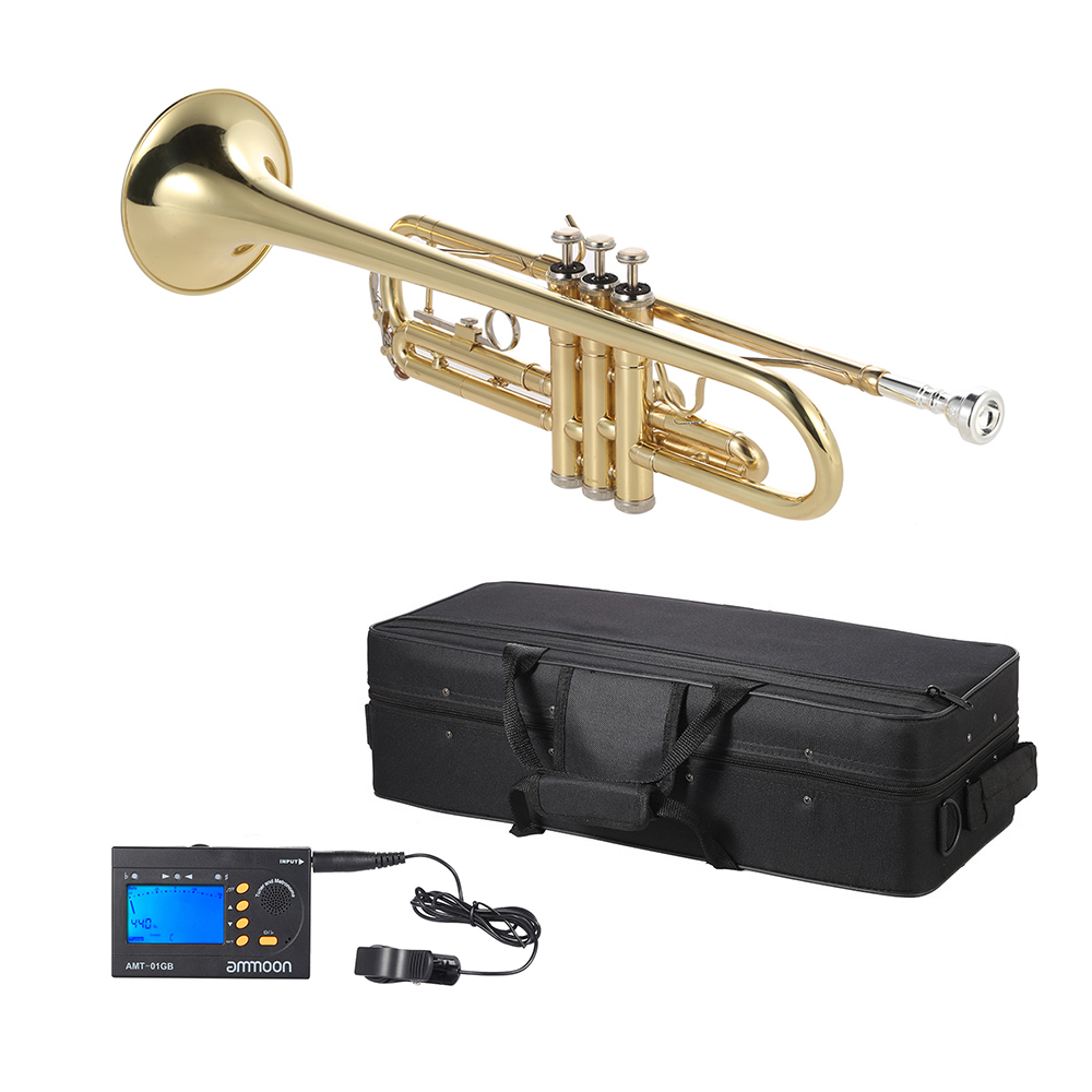 US $122 38 34% OFF|ammoon Trumpet Bb B Flat Brass with ammoon AMT 01GB 3in1  Metro Tuner-in Trumpet from Sports & Entertainment on Aliexpress com |