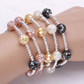 New Fashion 925 Sterling Silver Bead Elastic String Multi-Color Colorful Mother of Pearl Shell Fragment with Epoxy Bead Bracelet