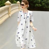Hot Sale Summer Shirt Dress Women Silk Plus Size Fashion Printed Short Sleeve Lapel Black Slim