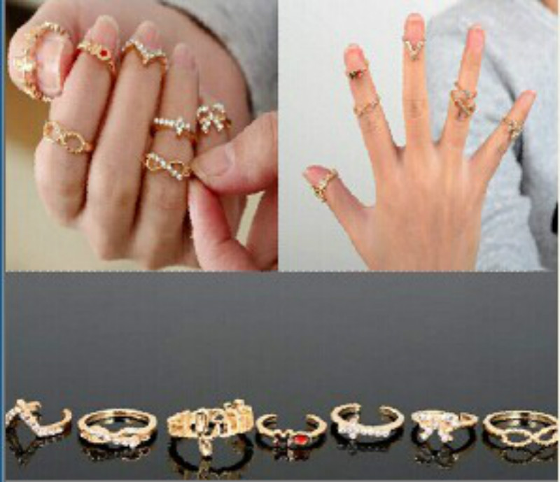 2017 new European and American style fashion personality Fangzuan V-8 word bow cross seven sets of rings