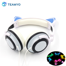 2017 Teamyo Newest Flashing Glowing LED Cat Ear headphones for Kids Children Headsets For Mobile Phone PC Laptop Computer