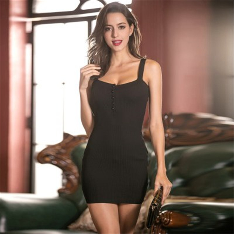 Knitted women's long tight-fitting ass sweater dress with a sexy knit dress image