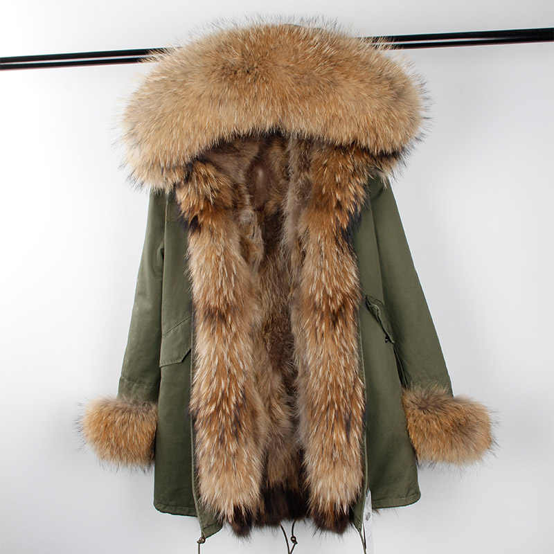 2019 nowe zimowe kobiety duży kołnierz z futra szopa z kapturem prawdziwe futro z lisa płaszcz z podszewką czarny zieleń wojskowa parki znosić kurtka zimowa