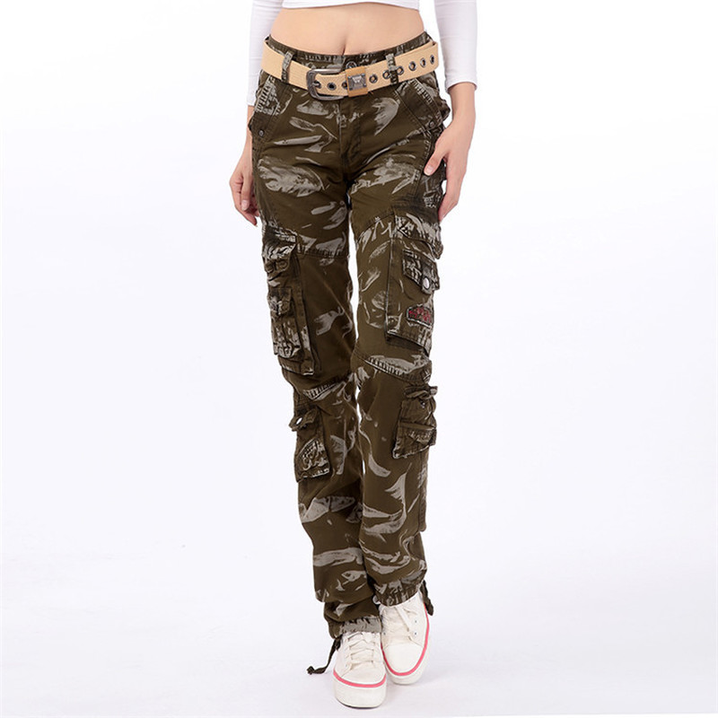 Military Camouflage women Cargo Pants Women 2019 Fashion Loose Baggy Pants Multi Pocket Long jogging Trousers Plus size 5XL-in Pants & Capris from Women's Clothing    1