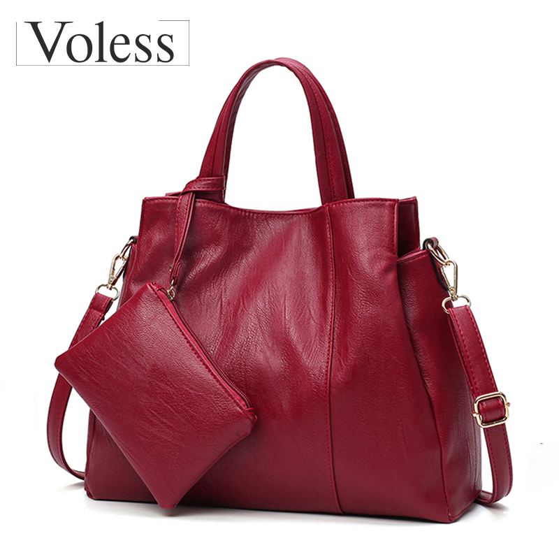 Luxury Handbags Women Bags Designer High Quality PU Leather Handbags Solid Tote Bag For Women 2 Sets Shoulder Bag 2018 New