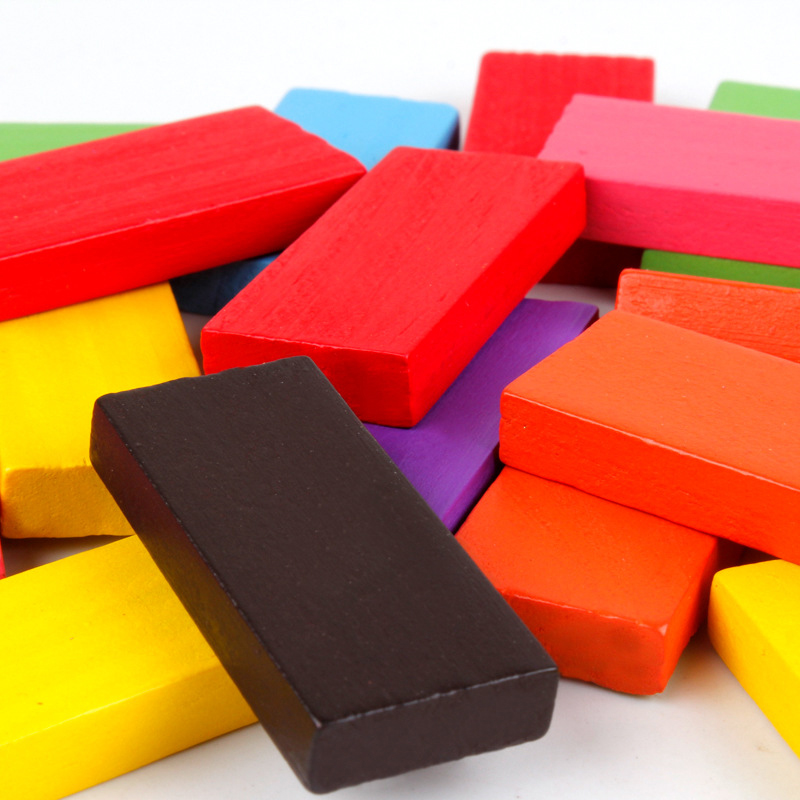 Montessori Toys Children Early Educational Learning Puzzle Wooden Toys  Colored Domino Kids Brain-Training Toy 100Pcs/Set