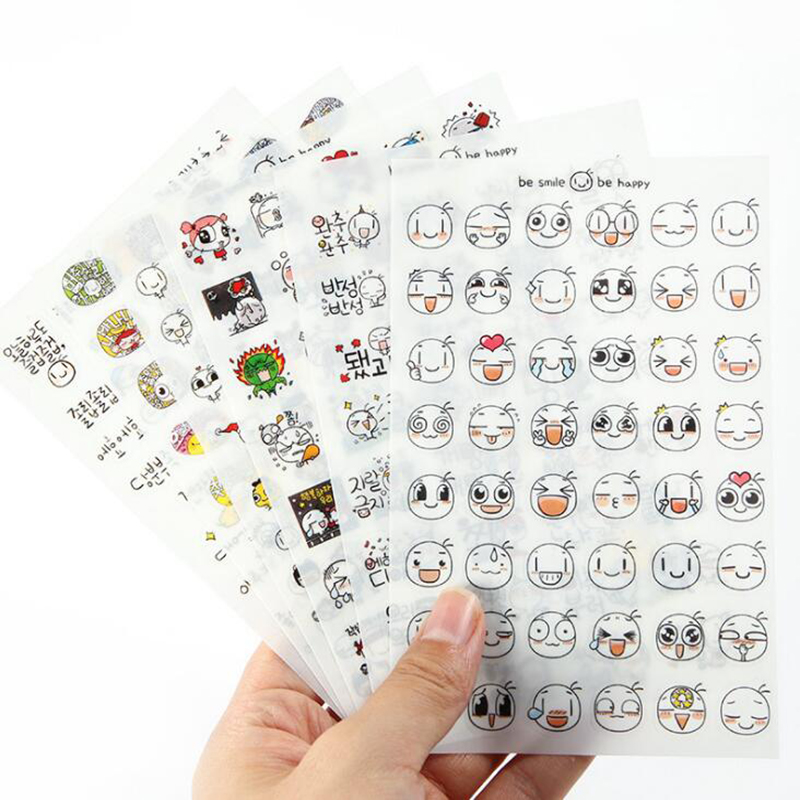 6 / New Kawaii Cute Emoticon / Children's Stationery Stickers Diy Cartoon Style Decorative Scrapbooking Diary Learning Gifts