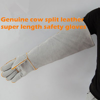 Free shipping hot selling super length 60cm cow split genuine leather gloves anti-cutting /anti-hurt safety work protect glove