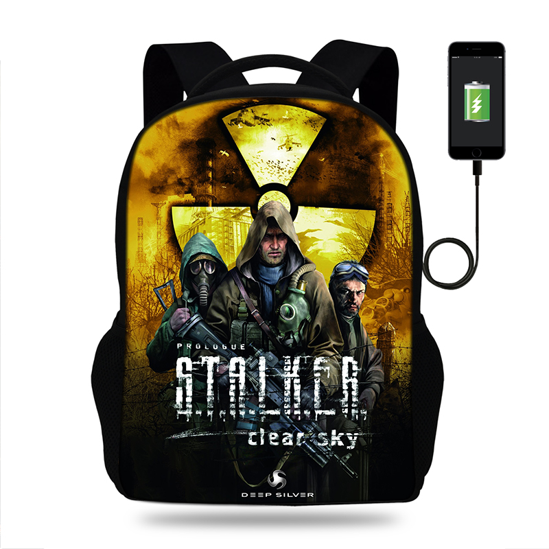 17inch Stalker Shadow Of Chernobyl Mens College Backpack usb Charger Schoolbag for Laptop Backpacks for Teenage School Bag Boys