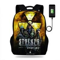 17inch Stalker Shadow Of Chernobyl Mens College Backpack usb Charger Schoolbag for Laptop Backpacks for Teenage School Bag Boys