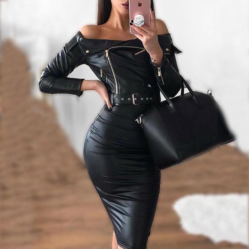 Épaule dénudée pu cuir robe avec ceinture à manches longues ceintures moulante femmes robe printemps 2019 skinny noir en cuir robes