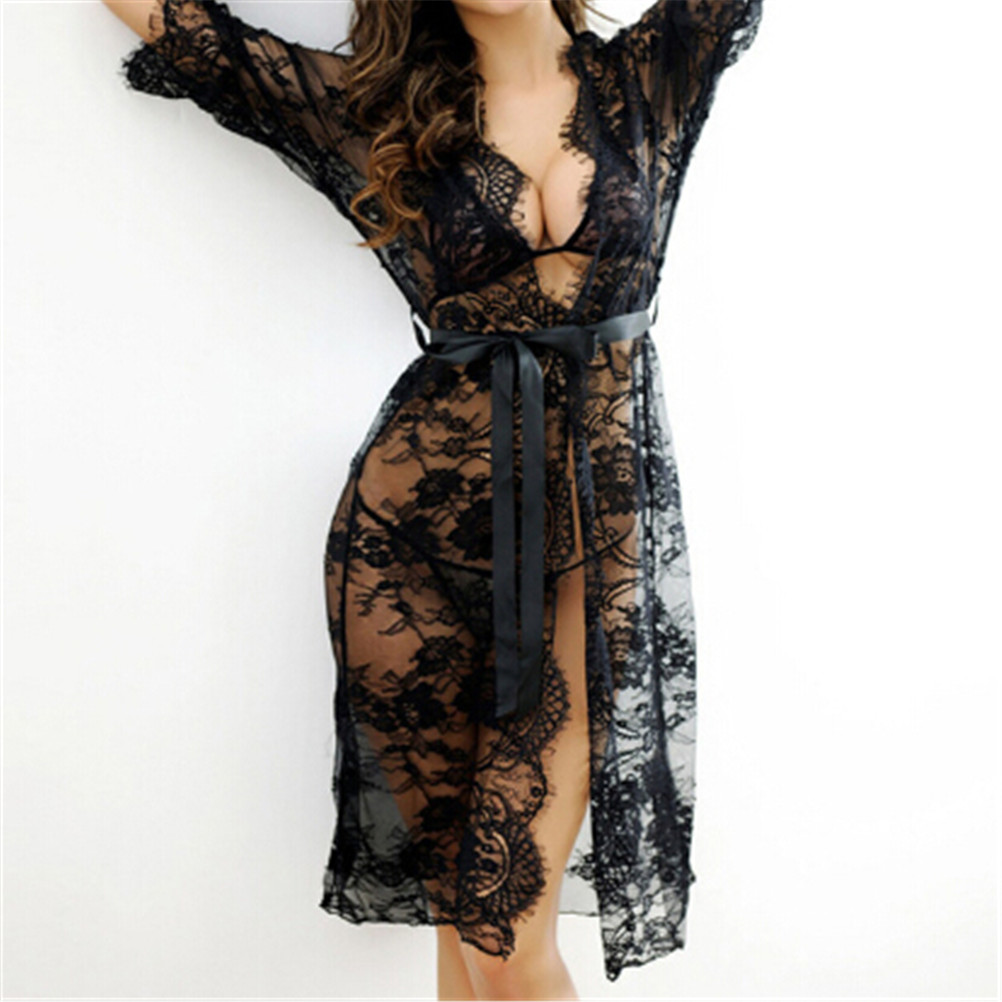 Sexy Women   Nightgowns   &   Sleepshirts   Three Quarter O Neck   Nightgowns   Solid Full Lace Transparnet Hollow Out Dress