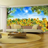Lovely Sunflower fields Photo wallpaper Idyllic scenery Wall Mural photography Wallpaper Bedroom Living room Kid Room Home Decor