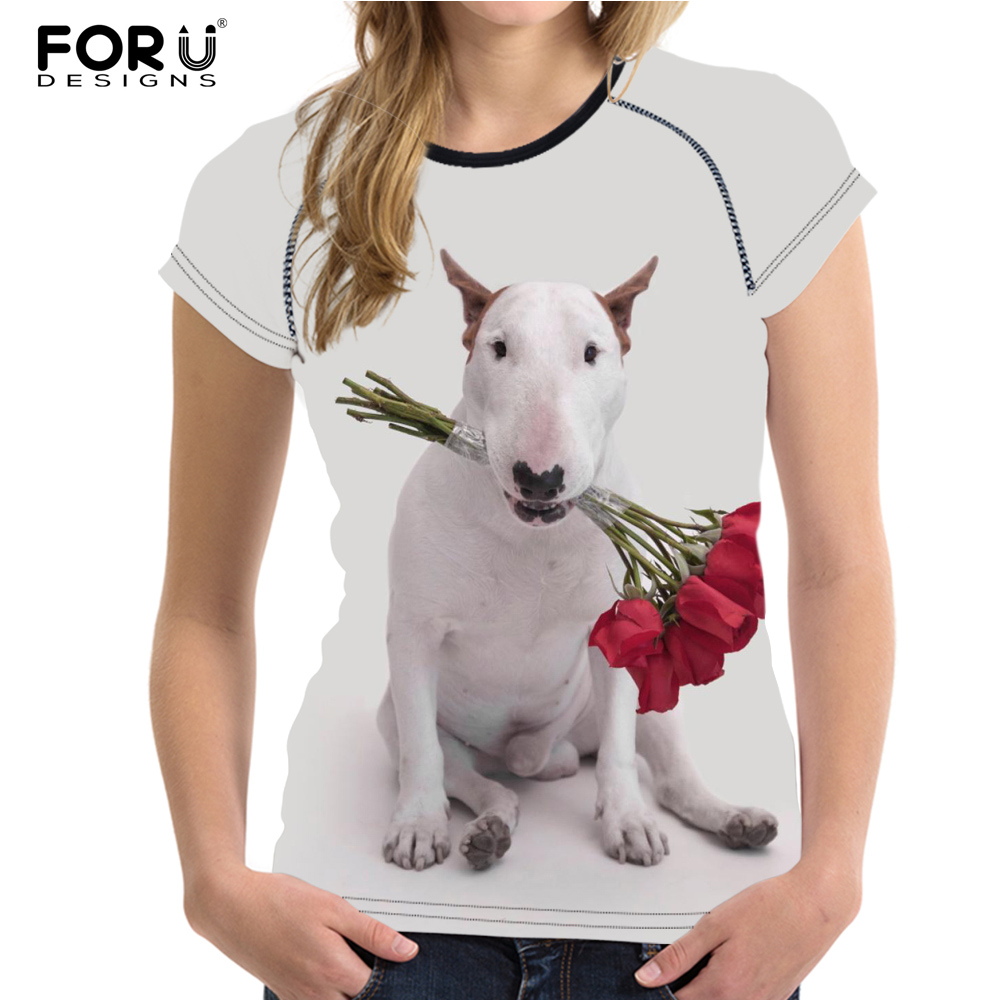 FORUDESIGNS Brand Clothes Women Bull Terrier Pattern Summer Tops for Female T-shirts Casual Ladies Short Sleeve Tee Shirts Mujer