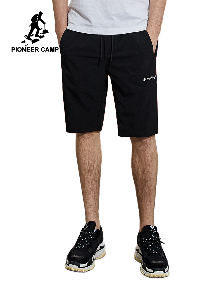 "Pioneer Camp Men Summer Casual Shorts Men ""New Stage"" Embroidery Board Shorts Solid Elastic Waist Shorts For Men ADK901082"