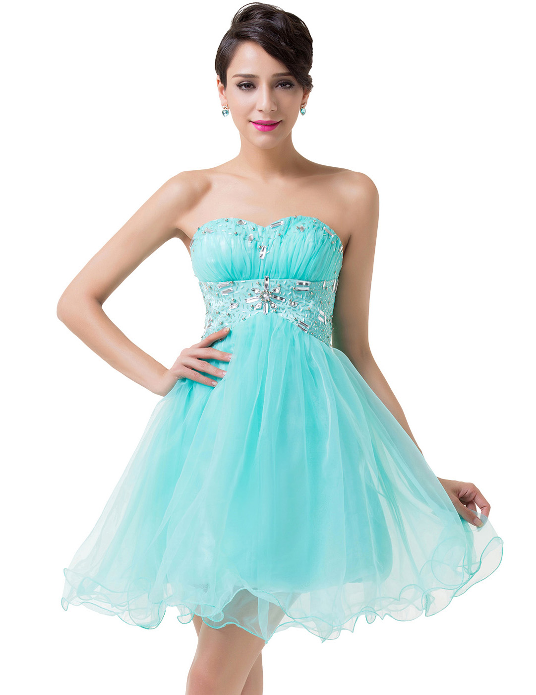 Grace Karin Cocktail Dresses 2016 Knee Length Turquoise Short Prom ...
