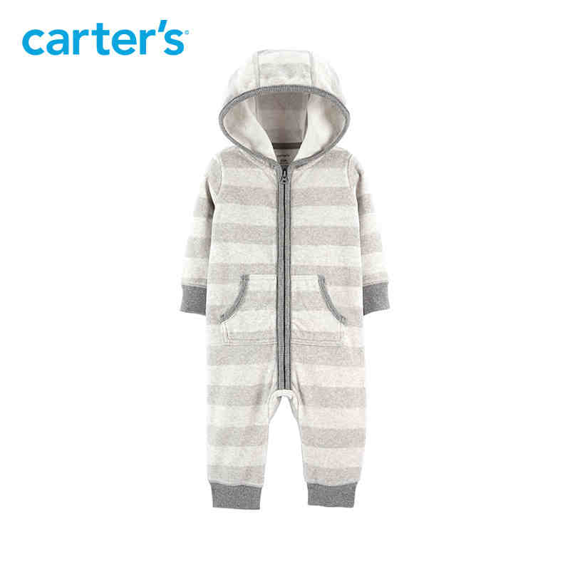 636b6f13e014 Carters baby boy rompers Striped Hooded Fleece Jumpsuit Striped long ...