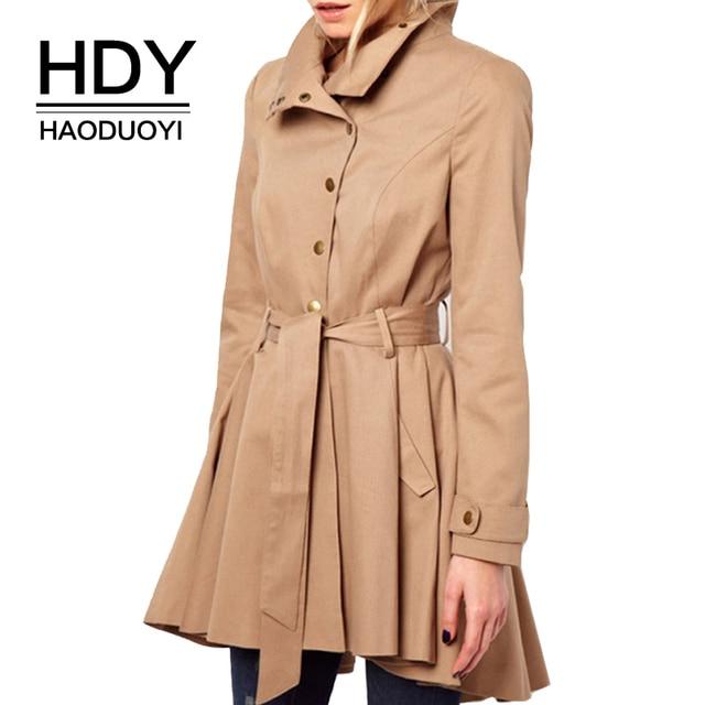 HDY Haoduoyi Женщины Хаки Асимметричная Отделка Одной Кнопки Пальто Пыли Сплошной Цвет Ласточка Пальто Плиссированные Талии Галстук Пальто