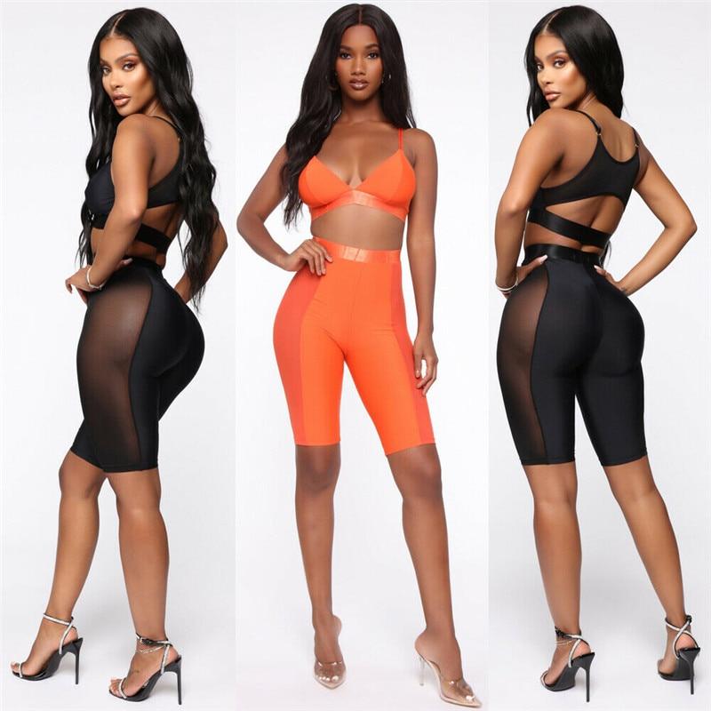 HIRIGIN Women High Waist Skinny Active Shorts Summer Pop Lady Hollow Out Sheer Mesh Hot Short Trousers
