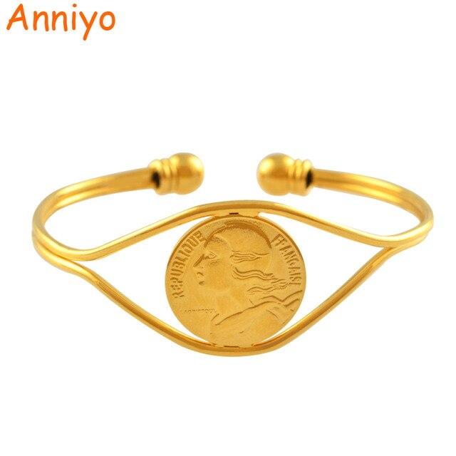 Anniyo Münze Armreif Frauen Gold Farbe Schmuck Armband Münzen Für