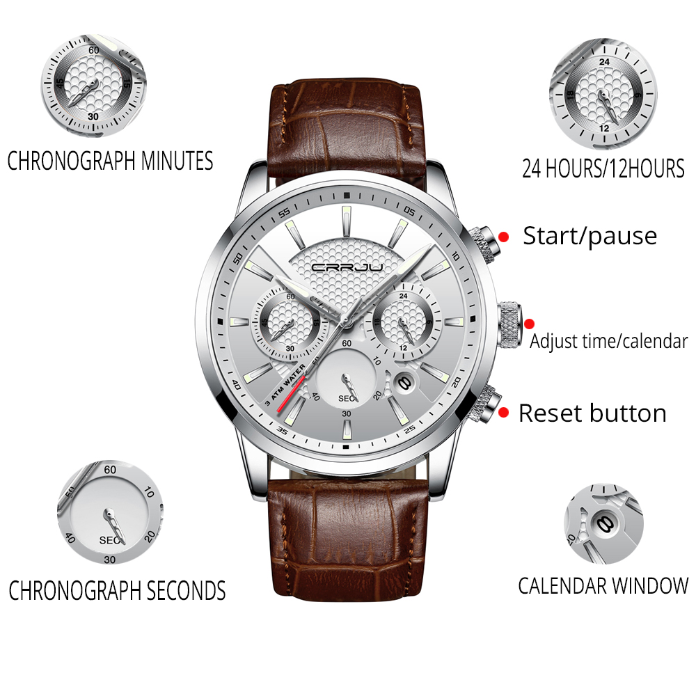 CRRJU New Fashion Men Watches Analog Quartz Wristwatches 30M Waterproof Chronograph Sport Date Leather Band Watches montre homme 3